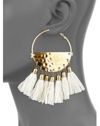 "Jardin - Metallic Tassel Trim Hoop Earrings/3.5"" - Lyst"
