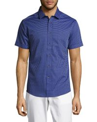 Vince Camuto   Blue Pindot Printed Cotton Shirt for Men   Lyst