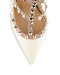 Valentino - White Multi-straps Stud Leather Pumps - Lyst