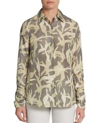 Minnie Rose | Natural Camo Print Silk Blouse | Lyst