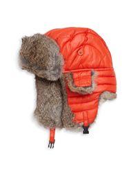 Crown Cap - Orange Puffle Rabbit Fur-trimmed Trapper Hat for Men - Lyst