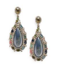 Bavna - Blue Diamond, Tourmaline, Labradorite & Sterling Silver Teardrop Earrings - Lyst