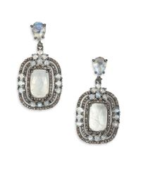 Bavna - Metallic Rainbow Moonstone, Champagne Diamond & Sterling Silver Nested Drop Earrings - Lyst