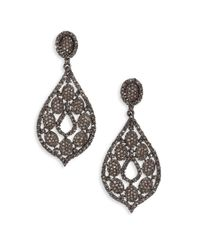 Bavna - Multicolor 6.63 Tcw Diamond & Sterling Silver Pear Drop Earrings - Lyst