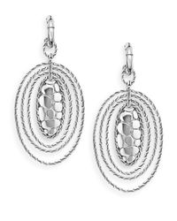 John Hardy | Metallic Sterling Silver Oval Drop Earrings | Lyst