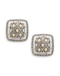 John Hardy   Metallic Naga 18k Yellow Gold & Sterling Silver Button Earrings   Lyst