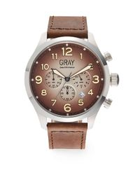 Saks Fifth Avenue - Brown Ombrà Stainless Steel & Leather Watch for Men - Lyst