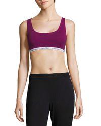 CALVIN KLEIN 205W39NYC - Purple Logo Cotton Bralette - Lyst