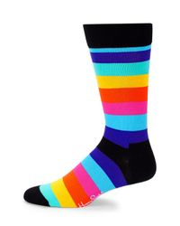 Happy Socks - Blue Stripe Mid-calf Socks for Men - Lyst