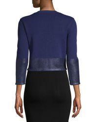 Carolina Herrera - Blue Textured Three-quarter Sleeve Bolero - Lyst
