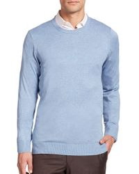 Saks Fifth Avenue - Blue Silk-blend Crewneck Sweater for Men - Lyst