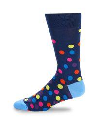 Bugatchi - Blue Polka Dot Crew Socks for Men - Lyst