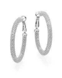"Ak Anne Klein - Metallic Anne Klein Textured Hoop Earrings/1.5"" - Lyst"