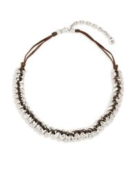 Uno De 50 - Metallic Sterling Silver & Leather Seduce Me Braided Necklace - Lyst