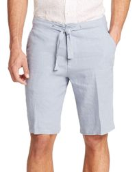 Saks Fifth Avenue - Blue Linen Drawstring Shorts for Men - Lyst