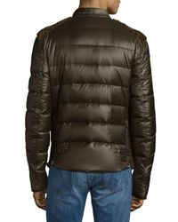 Roberto Cavalli - Brown Point Collar Woven Puffer Jacket for Men - Lyst