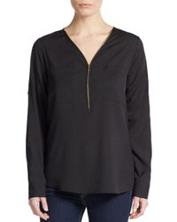 Calvin Klein | Black Roll-tab Sleeve Zip-front Blouse | Lyst