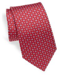 Saks Fifth Avenue - Red Floral Silk Tie for Men - Lyst