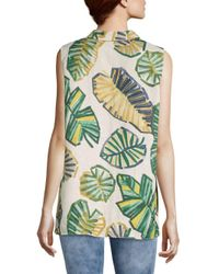 9388c200ef32e Lyst - Lafayette 148 New York Justin Palm-print Linen Blouse in Green