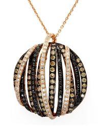 Effy - Metallic Brown And White Diamond 14k Rose Gold Pendant Necklace, 1.43 Tcw - Lyst