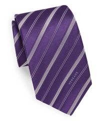 Versace - Purple Stitched Silk Tie for Men - Lyst