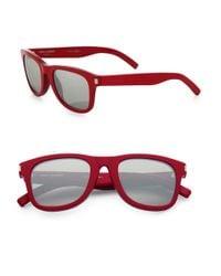 Saint Laurent - Red Round-frame Sunglasses - Lyst