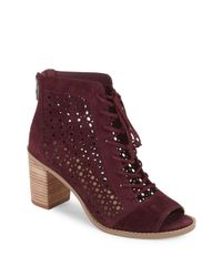 26ea0c6cf2aa Lyst - Vince Camuto Trevan Perforated Suede Booties in Red