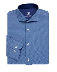 Bugatchi - Blue Textured Cotton Dress Shirt for Men - Lyst