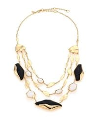 Alexis Bittar - Metallic Lucite & White Agate Tiered Station Necklace - Lyst