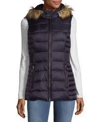 Kate Spade Blue Hooded Faux Fur Vest