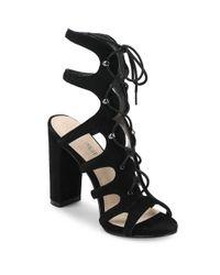 Nine West - Black Suede Lace-up Cage Sandals - Lyst