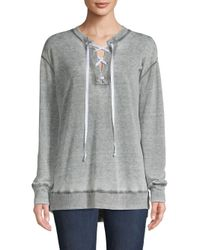 Allen Allen Gray Lace-up Sweatshirt