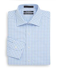 Saks Fifth Avenue - Blue Slim-fit Gingham Cotton Dress Shirt for Men - Lyst