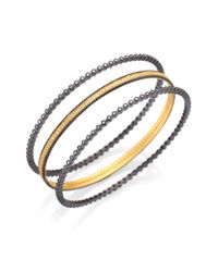 Freida Rothman - Metallic Bezel Eternity Bangle Bracelet Set - Lyst