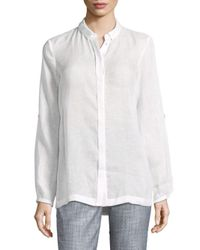 Elie Tahari - White Carly Pleated Blouse - Lyst