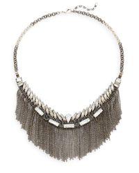 Deepa Gurnani | Metallic Austrian Crystal Fringe Bib Necklace/gunmetal-tone | Lyst