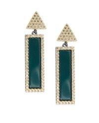 Freida Rothman - Classic Black Rhodium, 14k Goldplated Sterling Silver & Genuine Cubic Zirconia Geometric Pavé Green Agate Bar Earrings - Lyst