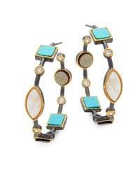 Freida Rothman - Blue Mother-of-pearl, Crystal And Turquoise Hoop Earrings - Lyst