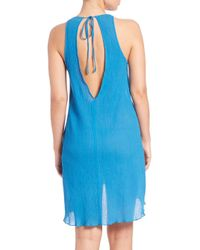 Shoshanna - Blue Embellished Cotton Bohemian Tank Dress - Lyst