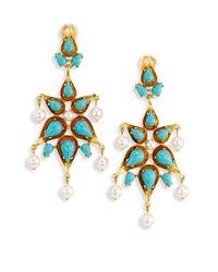 Oscar de la Renta - Blue Cabochon & Faux Pearl Clip-on Earrings - Lyst