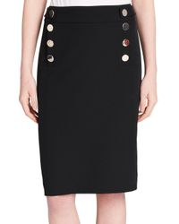 Calvin Klein - Black Buttoned Pencil Skirt - Lyst