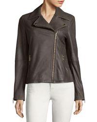 T Tahari - Black Skylar Leather Biker Jacket - Lyst