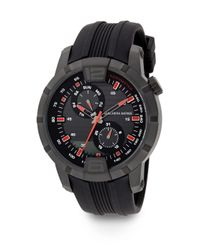Saks Fifth Avenue - Blackened Stainless Steel & Rubber Multi-function Watch - Lyst