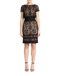 Tadashi Shoji - Black Lace Blouson Dress - Lyst