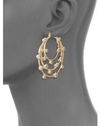Noir Jewelry - Metallic Cubic Zirconia Tiered Circular Hoop Earrings- 2in - Lyst