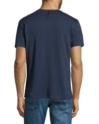 Calvin Klein - Blue Short-sleeve Patch Denim Tee for Men - Lyst