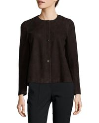 Lafayette 148 New York - Brown Tansy Leather Jacket - Lyst