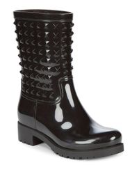 Valentino - Black Studded Rain Boot - Lyst