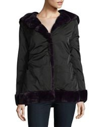 Laundry by Shelli Segal - Black Faux Fur Linded Hooded Coat - Lyst