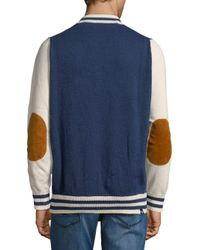 Mostly Heard Rarely Seen - Blue Stripe Cotton Varsity Jacket for Men - Lyst